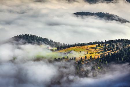 Foggy summer sunrise in the Italian Alps. photo