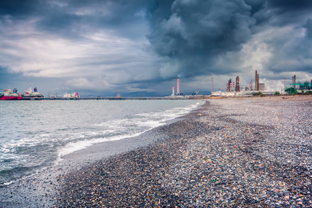 sicilia: Refinery San Filippo del Mela on the Sicilia, Italy, Tyrrhenian sea, Europe.