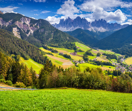 odle: Colorful summer morning in the St. Magdalena or Santa Maddalena in the National Park Puez Odle or Geisler summits. Dolomites, South Tyrol. Location Bolzano, Italy, Europe.