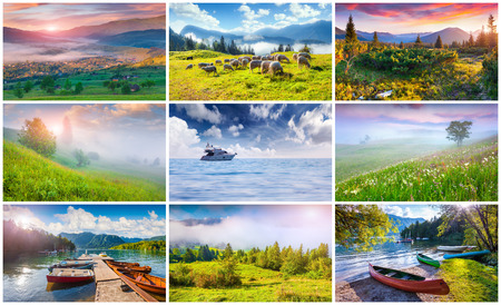 Collage with 9 colorful summer landscapes. photo