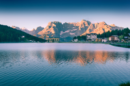 lake misurina: Colorful summer morning on the Lake Misurina, in Italy Alps, Tre Cime Di Lavaredo, Dolomites, Europe.
