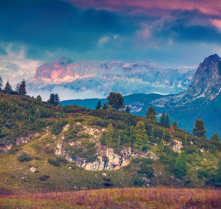 stria: Fantastic summer landscape on the Sass De Stria mountain range. View from Falzarego pass. Dolomites mountains, Alps, Italy, Europe. Retro style. Stock Photo