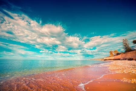 sicilia: Azure Mediterranean sea at sunny morning. Location Makauda, Sciacca. Sicilia, southern Italy, Europe. Instagram toning.