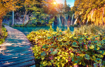Colorful autumn sunrise in the Plitvice Lakes National Park. Croatia. Europe. Lomography stylization and instagram toning effect. Imagens