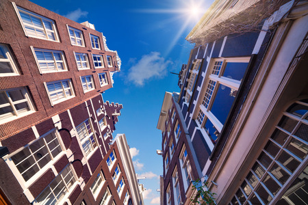 zaandam: Elements of authentic Dutch architecture, wide angle shot in Amsterdam, the capital of the Netherlands, Europe.