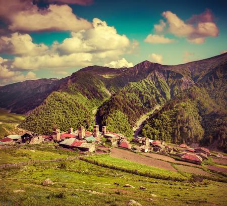 svaneti: Summer sunny morning in the village Adishi. Upper Svaneti, Georgia, Europe. Retro style.