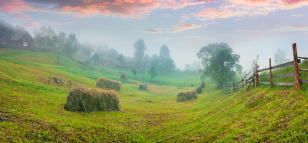 haymaking: Haymaking in a Carpathian village. Colorful summer sunrise in the foggy mountain. Stock Photo