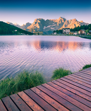 lake misurina: Colorful summer sunrise on the Lake Misurina, in Italy Alps, Tre Cime Di Lavaredo, Dolomites, Europe. Instagram toning.
