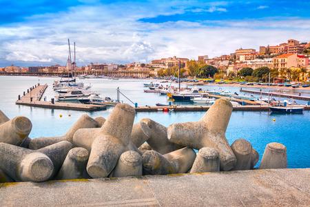 Port of Santa Maria Maggiore in Milazzo town, Sicily, Italy, Medityrrhenian sea, Europe. Retro style. photo