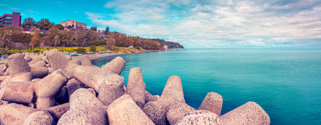 Panorama of the port of Santa Maria Maggiore in Milazzo town, Sicily, Italy, Tyrrhenian sea, Europe. Sunny spring day. Instagram toning. photo