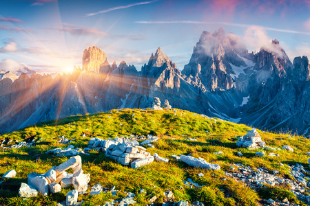 beautiful scenery: Colorful summer sunrise of the Cadini di Misurina range in National Park Tre Cime di Lavaredo. Dolomites, South Tyrol. Location Auronzo, Italy, Europe. Stock Photo