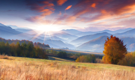 Digital artwork in watercolor painting style. Colorful autumn morning in the mountains
