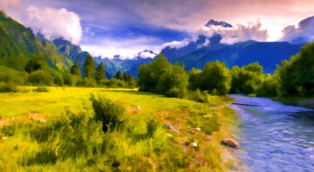 Digital artwork in watercolor painting style. Fantastic landscape with a blue river in the mountains.