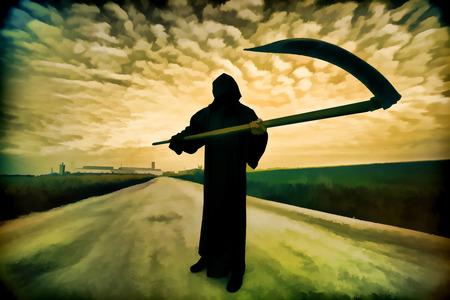 grim: Digital artwork in watercolor painting style. Grim Reaper on the road