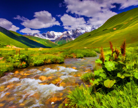 Digital artwork in watercolor painting style. Fantastic landscape with a river in the mountains.