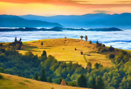 Digital artwork in watercolor painting style. Rural landscape against the foggy mountains photo