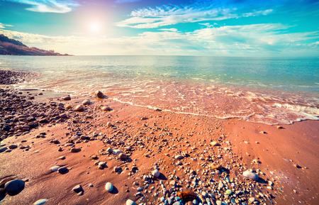 sicilia: Azure Mediterranean sea at sunny morning. Location Makauda, Sciacca. Sicilia, southern Italy, Europe.