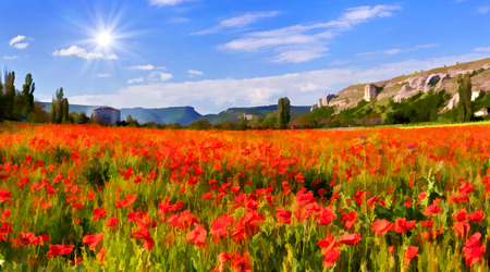 Digital artwork in watercolor painting style. Blossom field of poppies in spring photo
