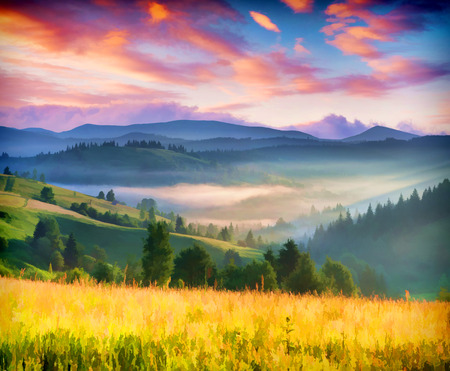 Digital artwork in watercolor painting style. Colorful summer sunrise in the mountains