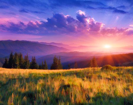 Digital artwork in watercolor painting style. Beautiful summer sunrise in the mountains