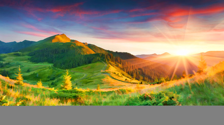 Digital artwork in watercolor painting style. Beautiful summer sunrise in the mountains.