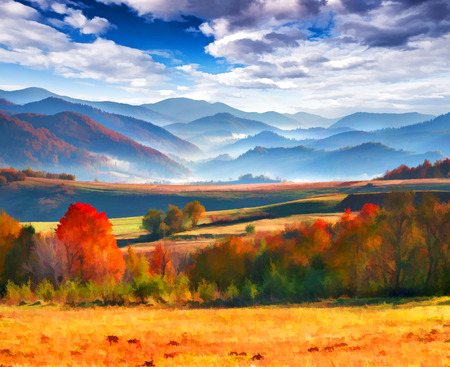 artwork painting: Digital artwork in watercolor painting style. Colorful autumn morning in the mountains.