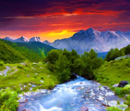 Digital artwork in watercolor painting style. Digital artwork in watercolor painting style. Stock Photo