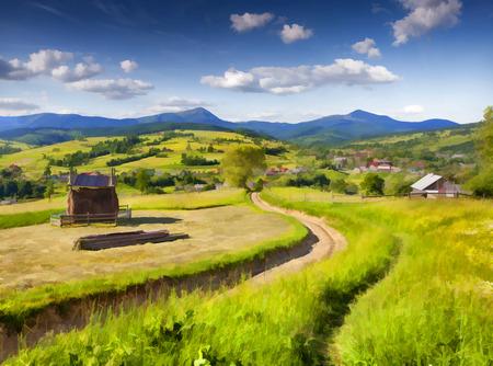 수채화 그림 스타일의 디지털 작품입니다. 산 마을에서 아름다운 여름 풍경