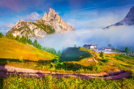 stria: Fantastic summer landscape on the Sass De Stria mountain range. View from Falzarego pass. Dolomites mountains, Alps, Italy, Europe. Stock Photo