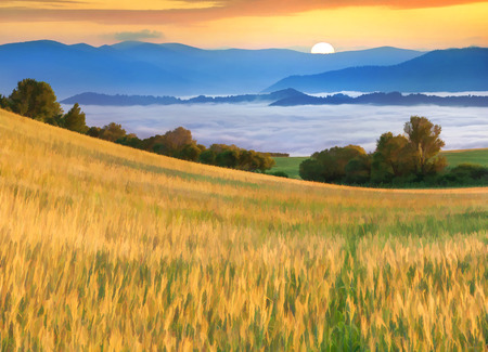 Digital artwork in watercolor painting style. Wheat field at the foot of mountains at sunsrise Archivio Fotografico
