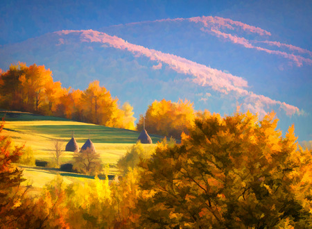 artwork painting: Digital artwork in watercolor painting style. Colorful autumn landscape in the mountains