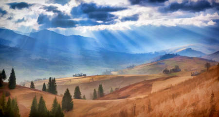 水彩画スタイルでデジタル アート。山村の美しい秋の風景 写真素材