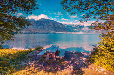 bohinj: Resting place on the coast of Bohinj lake in Triglav national park, Slovenia, Julian Alps, Europe. Instagram toning.
