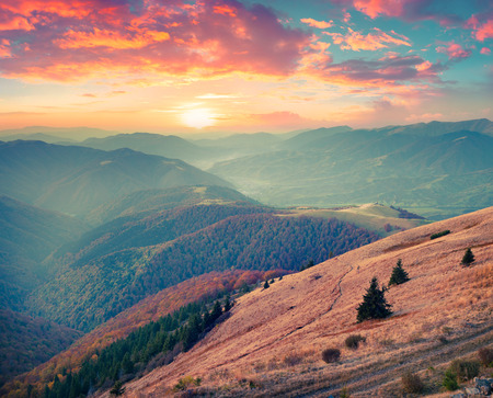 Colorful autumn sunset in Carpathian mountains. Krasna ridge, Ukraine, Europe. Instagram toning.