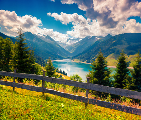 Colorful summer morning on the Speicher Durlassboden lake in the Austrian Alps. Stock fotó