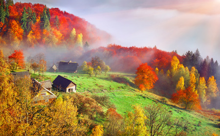 Colorful autumn landscape in the mountain village. Foggy morning in the Carpathian mountains. Sokilsky ridge, Ukraine, Europe. Zdjęcie Seryjne - 44228932