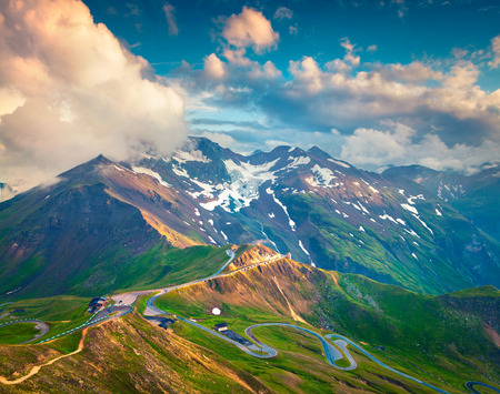 snow road: View from a birds eye of Grossglockner High Alpine Road. Austria, Alps, Europe.
