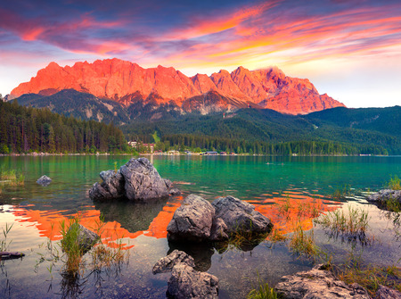 forest background: Colorful summer sunset on the Eibsee lake in German Alps. Germany, Europe,