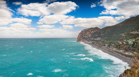 mediteranean: Sunny spring morning on the cape Milazzo, nature reserve Piscina di Venere, Sicily, Italy, Mediteranean sea, Europe. Stock Photo