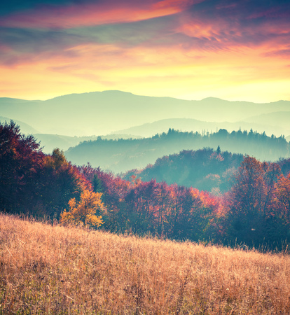 Colorful autumn sunrise in the Carpathian mountains. Sokilsy ridge, Ukraine, Europe. Retro style. 스톡 콘텐츠