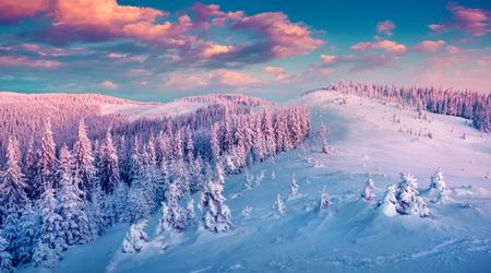 대로 산에서 다채로운 겨울 일출. Gorgany 능선, 우크라이나, 유럽. 인스 타 그램 토닝. 스톡 콘텐츠