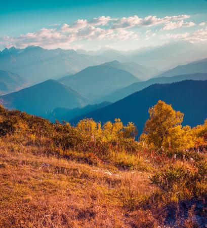 svan: Colorful autumn morning in the Caucasus mountains. Upper Svaneti, Georgia, Europe.