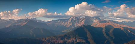 swanetia: Panorama of the Main Caucasus ridge with Ushba mountain in the cloud.  Upper Svaneti, Georgia, Europe. October 2015. Stock Photo