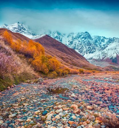 swanetia: Foggy autumn morning in the Caucasus mountain. Foot of Mt. Shkhara, Upper Svaneti, Georgia, Europe.