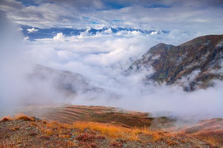 swanetia: Foggy autumn morning in the Caucasus mountain. Upper Svaneti, Georgia, Europe. October 2015.