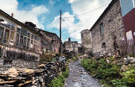 svan: View of Ushguli village. Ancient svan towers in Ushguli village at autumn morning in the Caucasus mountains. Upper Svaneti, Georgia, Europe. October 2015