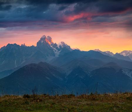 svan: Colorful autumn sunrise in the Caucasus mountains. Upper Svaneti, Main Caucasus ridge, Georgia, Europe. October 2015. Stock Photo
