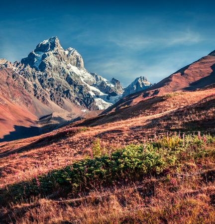 swanetia: Colorful autumn morning in the Caucasus mountains. Upper Svaneti, Main Caucasus ridge, Georgia, Europe. Instagram toning. October 2015. Stock Photo