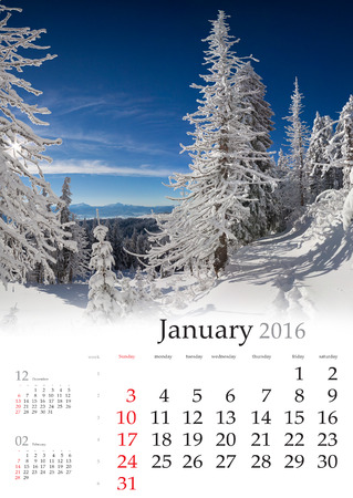 january: Calendar 2016. January. Colorful winter landscape in the mountains