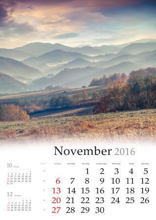 calendario noviembre: Calendario 2016. noviembre. colorido paisaje de oto�o en las monta�as.